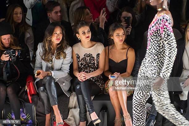 Aimee Song Victoria Justice and Jamie Chung attend the Mara Hoffman show during MercedesBenz Fashion Week Fall 2014 at The Salon at Lincoln Center on...