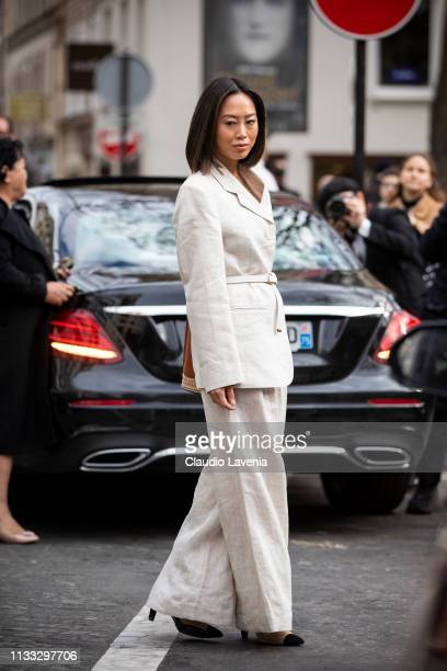 Aimee Song wearing a cream suit and black heels is seen outside Elie Saab on Day 6 Paris Fashion Week Autumn/Winter 2019/20 on March 2 2019 in Paris...