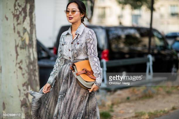 Aimee Song wearing skirt and button shirt with snake print Loewe bag is seen outside Loewe during Paris Fashion Week Womenswear Spring/Summer 2019 on...