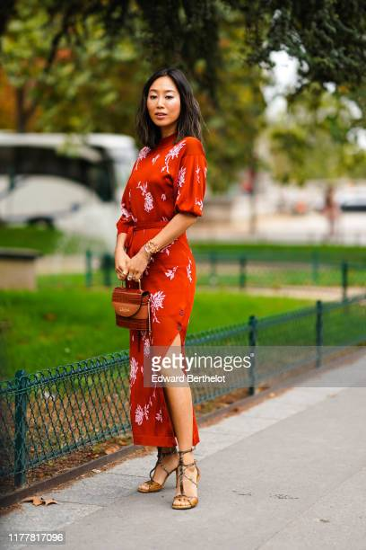 Aimee Song wears bracelets, a red puff sleeves side-slit long dress with white floral print, a brown crocodile pattern Chloe bag, crocodile pattern...