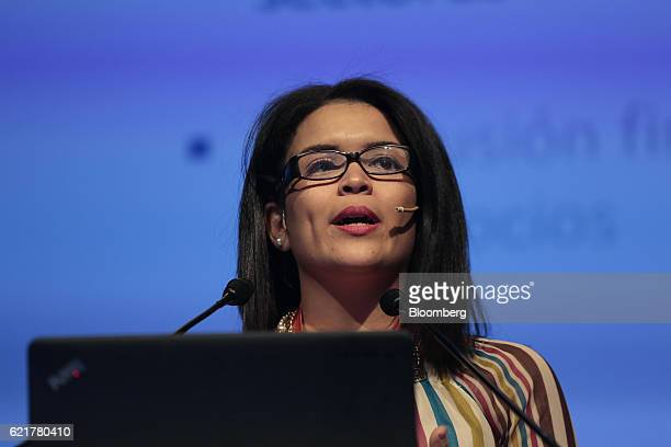 Aimee Suarez senior advisor for the Latin America and Caribbean region at World Savings and Retail Banking Institute speaks during the 50th...