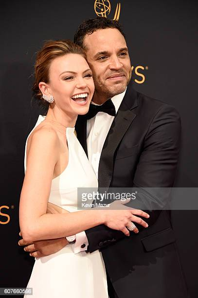 Aimee Teegarden and Daniel Sunjata attend the 68th Annual Primetime Emmy Awards at Microsoft Theater on September 18 2016 in Los Angeles California