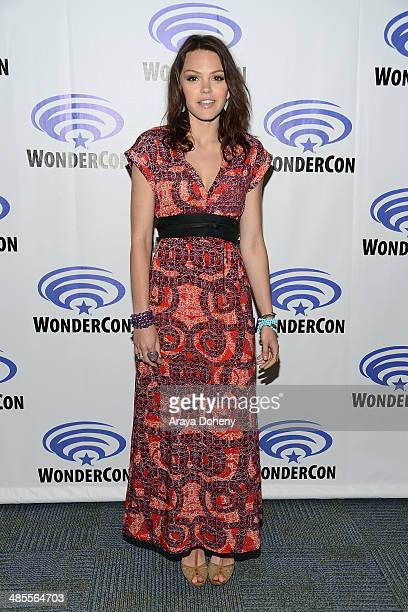Aimee Teegarden attends the Star Crossed press panel at WonderCon Anaheim 2014 Day 1 at Anaheim Convention Center on April 18 2014 in Anaheim...