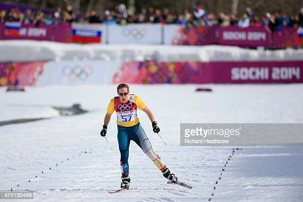 Aimee Watson of Australia competes during the Women's 30 km Mass Start Free during day 15 of the Sochi 2014 Winter Olympics at Laura Crosscountry Ski...