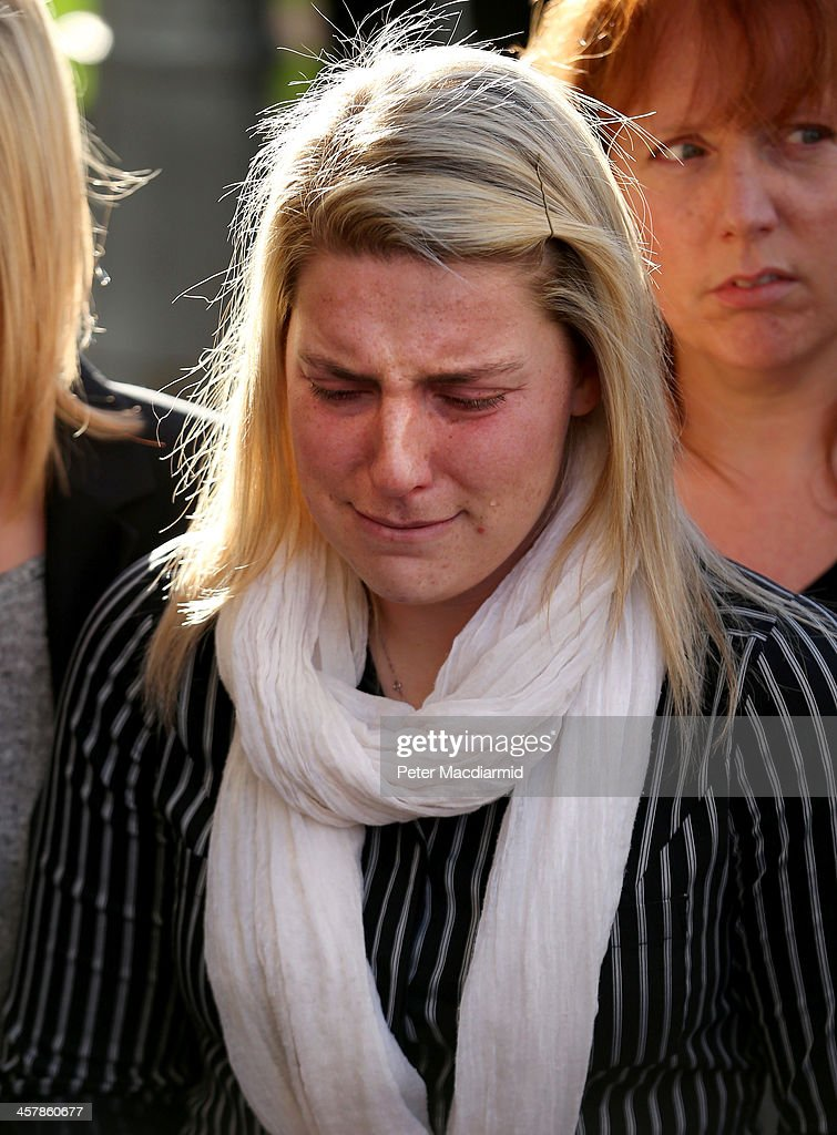 Aimee West, fiance of murdered fusilier Lee Rigby, leaves the Old Bailey on December 19, 2013 in London, England. Michael Adebolajo and Michael Adebowale have been found guilty of murdering Fusilier Lee Rigby as he walked back to Woolwich Barracks in south-east London on May 22, 2013.