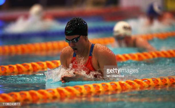 Aimee Willmot of University of Stirling competes in the final of the Women's 400m IM during day two of The Edinburgh International Swim Meet at The...