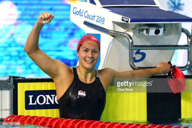 Aimee Willmott of England celebrates victory in the Women's 400m Individual Medley Final on day one of the Gold Coast 2018 Commonwealth Games at...