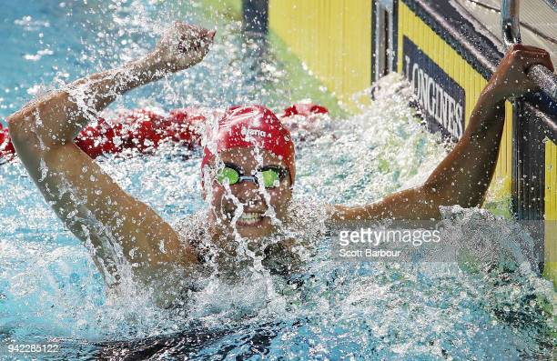 Aimee Willmott of England celebrates winning the Women's 400m Individual Medley Final on day one of the Gold Coast 2018 Commonwealth Games at Optus...