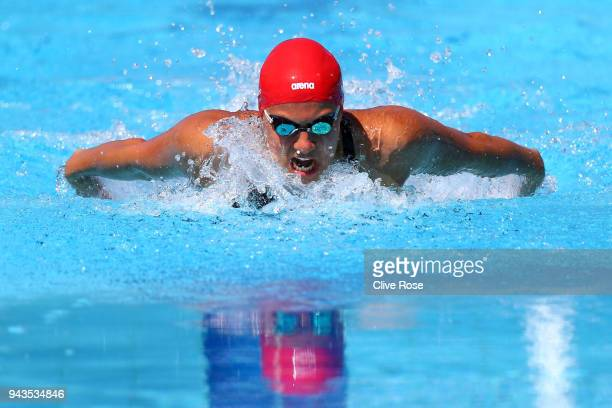 Aimee Willmott of England competes during the Women's 200m Butterfly Heat 1 on day five of the Gold Coast 2018 Commonwealth Games at Optus Aquatic...