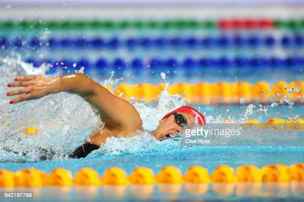 Aimee Willmott of England competes during the Women's 400m Individual Medley Final on day one of the Gold Coast 2018 Commonwealth Games at Optus...