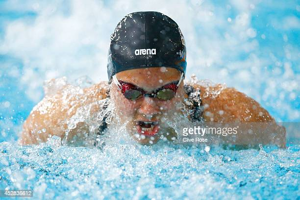 Aimee Willmott of England competes in the Women's 200m Butterfly Heat 2 at Tollcross International Swimming Centre during day five of the Glasgow...