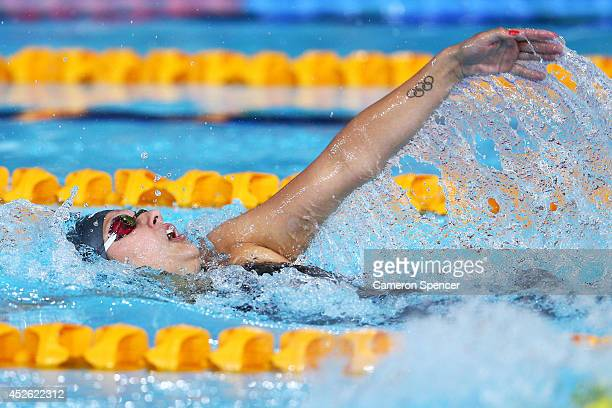 Aimee Willmott of England competes in the Women's 400m Individual Medley Final at Tollcross International Swimming Centre during day one of the...