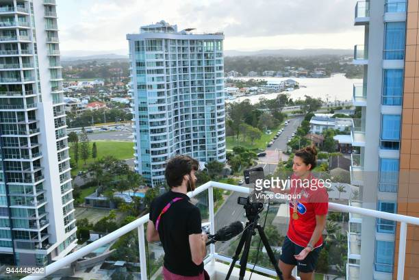 Aimee Willmott of England is seen during media interviews with her Gold medal at team England Headquarters in Main Beach on day six of the Gold Coast...