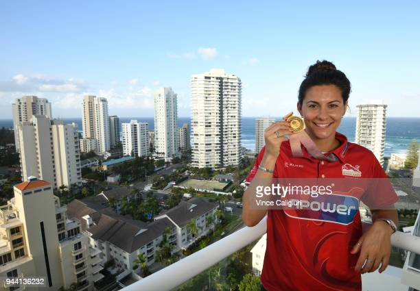 Aimee Willmott of England poses with her Gold medal at team England Headquarters in Main Beach on day six of the Gold Coast 2018 Commonwealth Games...