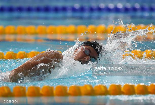 Aimee Willmott of Great Britain competes during the heats of the Women's 400M IM on Day Two of the European Championships Glasgow 2018 at Tollcross...