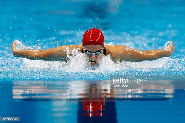 Aimee Willmott of Great Britain competes in the Women's 200m Butterfly heat on Day 4 of the Rio 2016 Olympic Games at the Olympic Aquatics Stadium on...