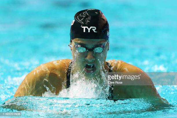 Aimee Willmott of Great Britain competes in the Women's 200m Individual Medley heats on day one of the Gwangju 2019 FINA World Championships at Nambu...
