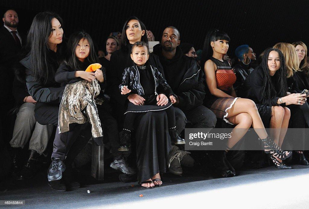 Aimie Wang, Alia Wang, Kim Kardashian, North West, Kanye West, Nicki Minaj and Zoe Kravitz attend the Alexander Wang Fashion Show during Mercedes-Benz Fashion Week Fall 2015 at Pier 94 on February 14, 2015 in New York City.