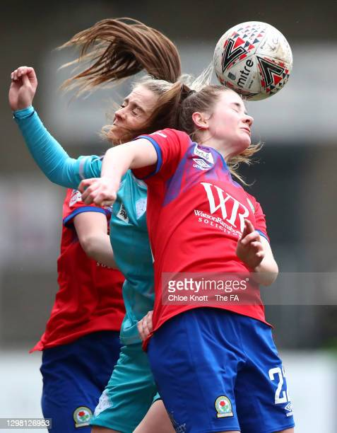 Aimme Hodgson of Blackburn Ladies battles for possession with Poppy Wilson of London City Lionesses during the Barclays FA Women's Championship match...