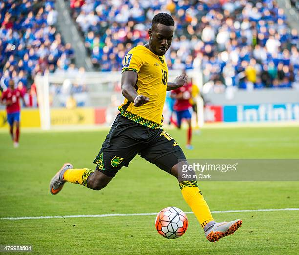 Aimon Dawkins of Jamaica handles the ball during the 2015 CONCACAF Gold Cup Group B match between Costa Rica and Jamaica at the StubHub Center on...