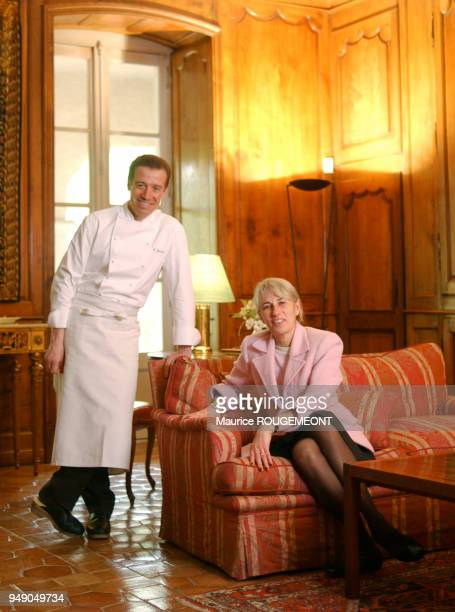 French chef Philippe Jousse from Alain Chapel restaurant in Mionnay here with Suzanne Chapel Ain le chef cuisinier français Philippe Jousse du...