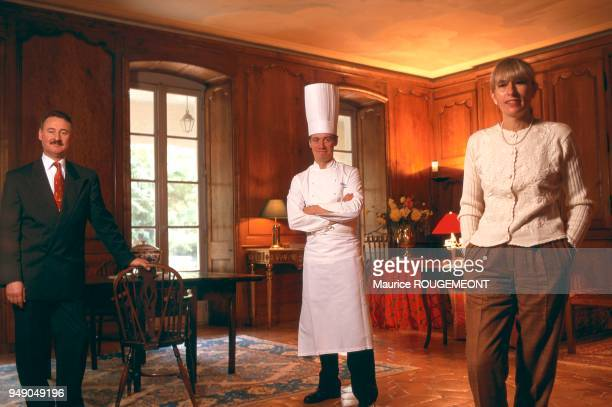 the head chef Philippe JOUSSE from the 'Alain CHATEL' Relais Chateaux in Mionnay To his right Herve DURONZIER To his left Suzanne CHAPEL Ain le chef...