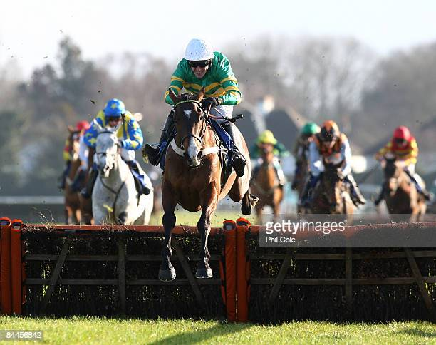 Ainama ridden by Tony McCoy clears the last to win the Calverts Carpets Novice's Hurdle race at Kempton race course on January 26, 2009 in...