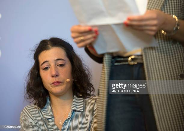 Ainara Olaciregui daugther of the worker Eugenio Olaciregui takes part in an event called by the Institute for Remembrance Coexistence and Human...