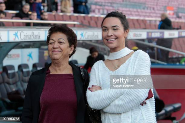 Aine Coutinho attends presentation of her husband Philippe Coutinho as Barcelona's new signing with the footballer's mother Esmeralda Coutinho at the...