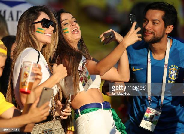 Aine Coutinho the wife of Philippe Coutinho of Brazil is seen during the 2018 FIFA World Cup Russia group E match between Serbia and Brazil at...