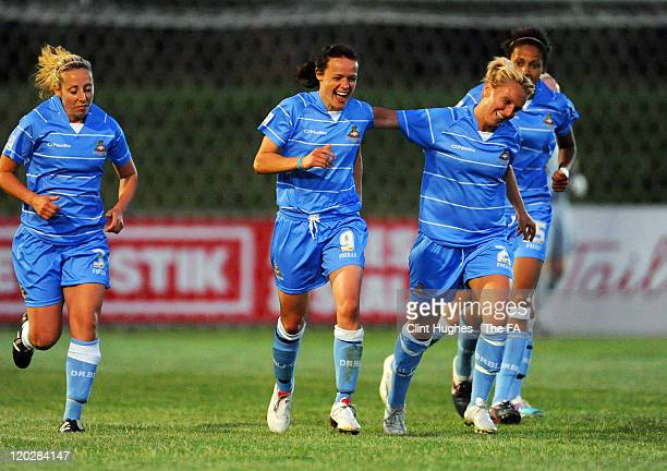 Aine O'Gorman of Doncaster celebrates with her team-mates after scoring her side's first goal during the FA Women's Super League match between...