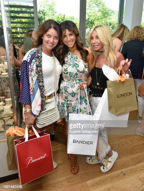 Ainee Stoopler Jessica Guetta and Pam Menowitz attend the Hamptons Magazine London Jewelers Host A Luxury Shopping Afternoon at Topping Rose House on...