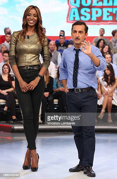 Ainett Stephens and Nicola Savino attend 'Quelli Che Il Calcio' Italian TV Show on October 27 2013 in Milan Italy