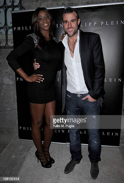 Ainett Stephens and Philipp Plein attend Philipp Plein new collection presentation during Milan Fashion Week Menswear A/W 2001 on January 17 2011 in...