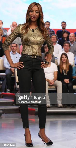 Ainett Stephens attends 'Quelli Che Il Calcio' Italian TV Show on October 27 2013 in Milan Italy