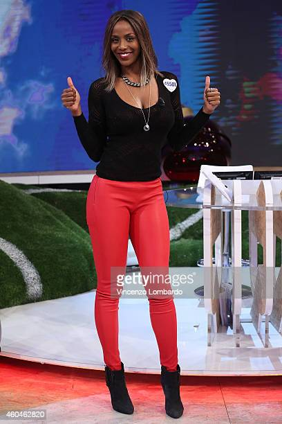 Ainett Stephens attends the 'Quelli Che Il Calcio' Tv Show on December 14 2014 in Milan Italy