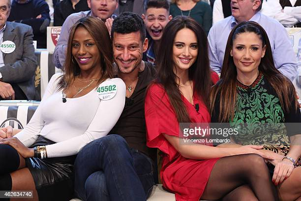 Ainett Stephens Gigi Mastrangelo Clizia Fornasier and Barbara Tabita attend the 'Quelli Che Il Calcio' TV Show on February 1 2015 in Milan Italy