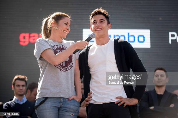 Ainhoa Arbizu and Marc Marquez during the Funeral Tribute For Angel Nieto in Madrid on September 16 2017 in Madrid Spain