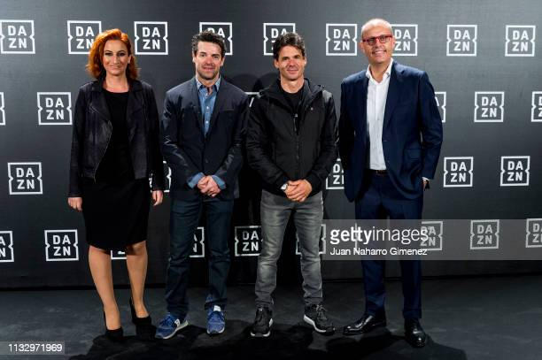 Ainhoa Arbizu Carlos Checa Alex Criville and Ernest Riveras attend the red carpet of the DAZN party presentation at DAZN Space on February 28 2019 in...