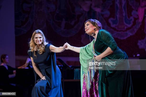 Ainhoa Arteta and Estrella Morente perform on stage at Palau de la Musica Catalana during the Festival Milleni on December 28 2017 in Barcelona Spain