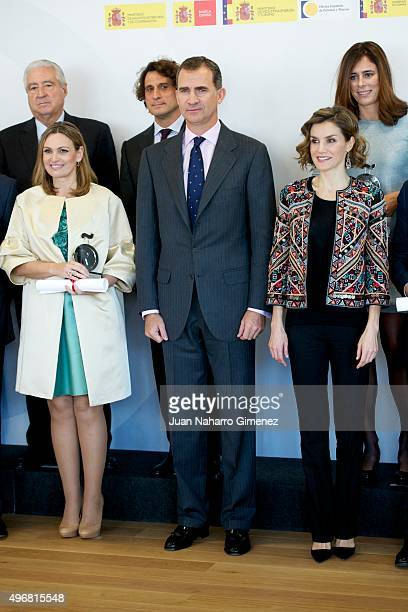 Ainhoa Arteta King Felipe VI of Spain and Queen Letizia of Spain attend a meeting with ambassadors of the Spanish Brand at Auditorio Ciudad BBVA on...