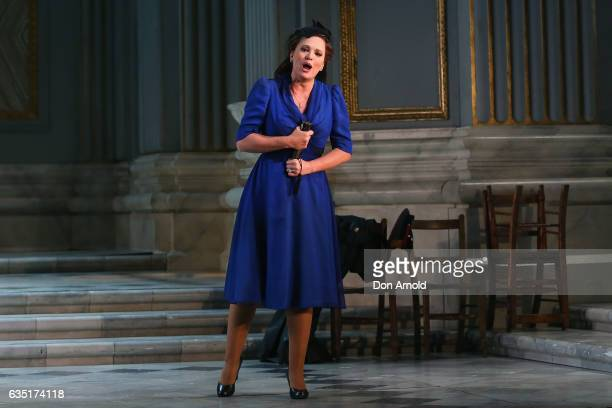 Ainhoa Arteta plays the role of 'Tosca' during the final dress rehearsal of Opera Australia's Tosca at Sydney Opera House on February 14 2017 in...