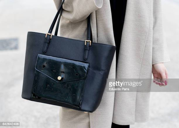 Ainhoa wears HM trousers Zara shirt Zara jacket Michael Kors handbag and Pull Bear shoes during the Mercedes Benz Fashion Week Autumn / Winter 2017...