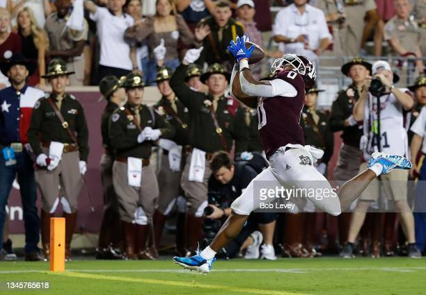 Ainias Smith of the Texas A&M Aggies catches a 25 yard pass for a touchdown in the fourth quarter against the Alabama Crimson Tide at Kyle Field on...