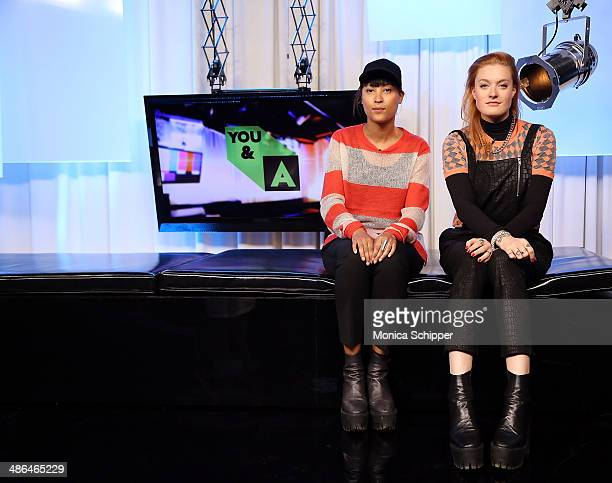 Aino Jawo and Caroline Hjelt of Icona Pop Celebrate Bring Your Kid To Work Day at Music Choice on April 24 2014 in New York City