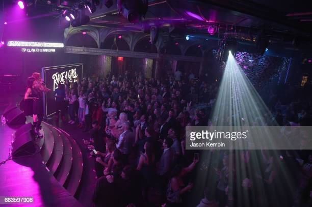 Aino Jawo and Caroline Hjelt of Icona Pop perform at the American Express Celebrates The New Platinum Card With Hamilton Takeover Experience on April...