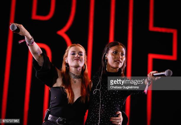 Aino Jawo and Caroline Hjelt of Icona Pop perform at the LA Pride Music Festival on June 9 2018 in West Hollywood California