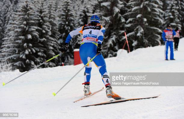 Aino Kaisa Saarinen of Finland competes during the final climb women for the FIS Cross Country World Cup Tour de Ski on January 10 2010 in Val di...
