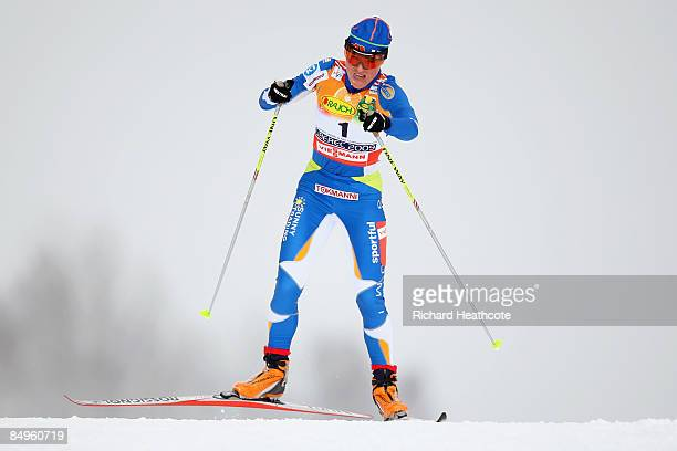 Aino Kaisa Saarinen of Finland competes during the Ladies Cross Country Pursuit competition at the FIS Nordic World Ski Championships 2009 on...