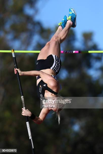 Aino Siitonen of Finland competes in the women's pole vault during the Jandakot Airport Perth Track Classic at WA Athletics Stadium on January 13...